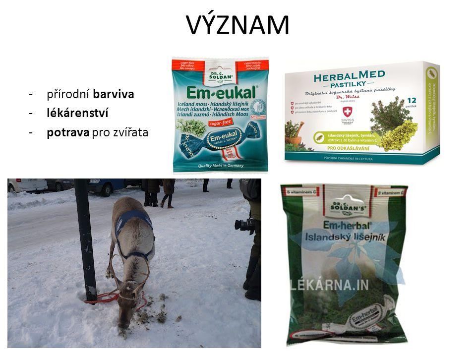 VÝZNAM přírodní barviva lékárenství potrava pro zvířata