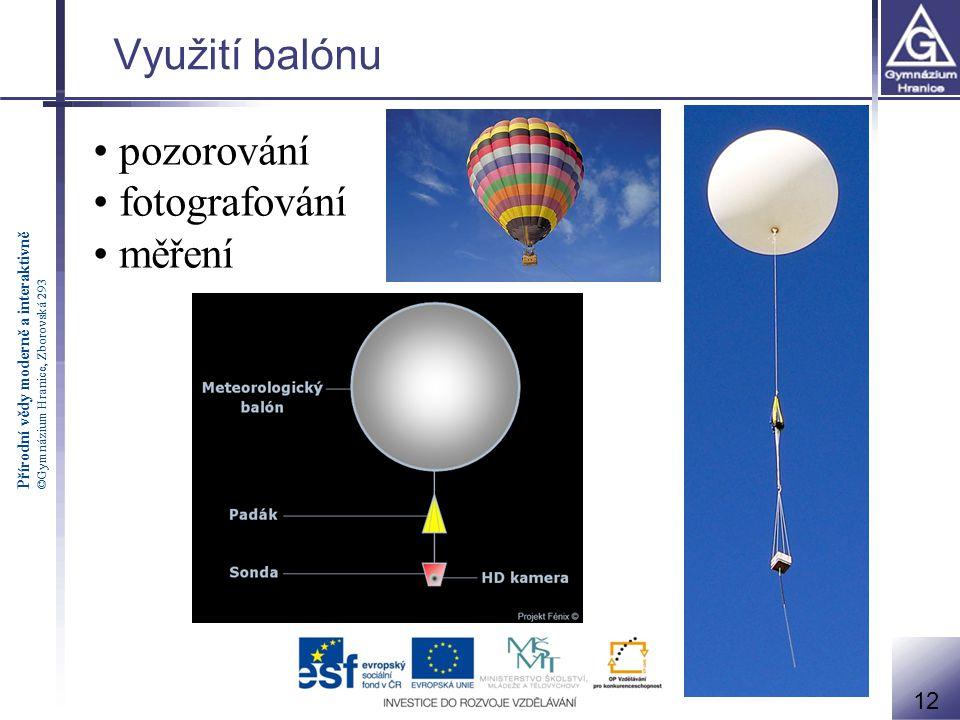 Využití balónu pozorování fotografování měření 12