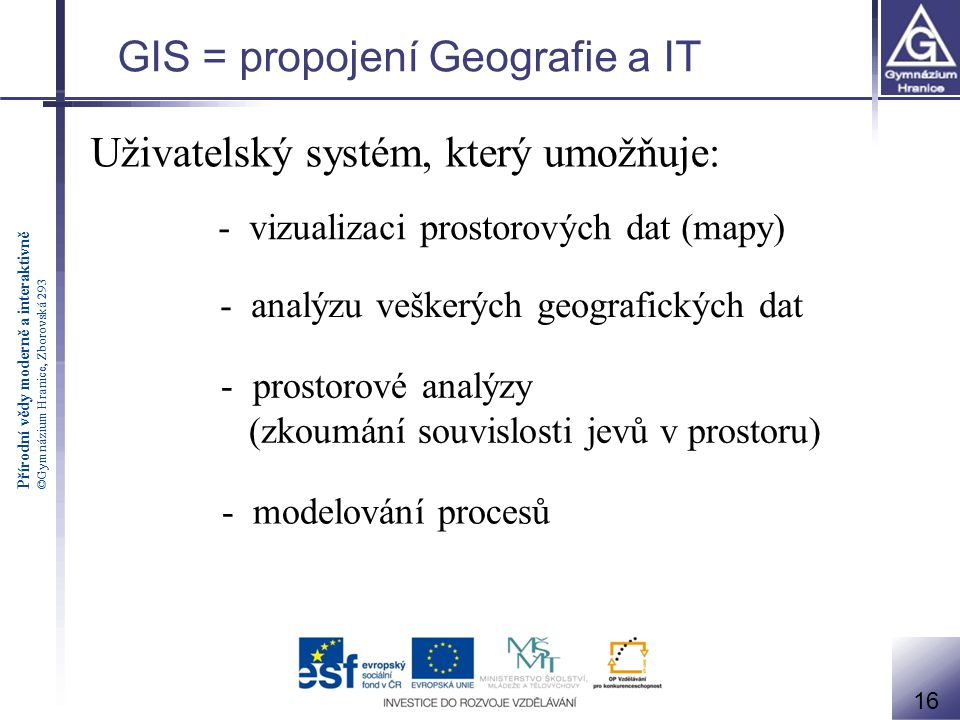 GIS = propojení Geografie a IT