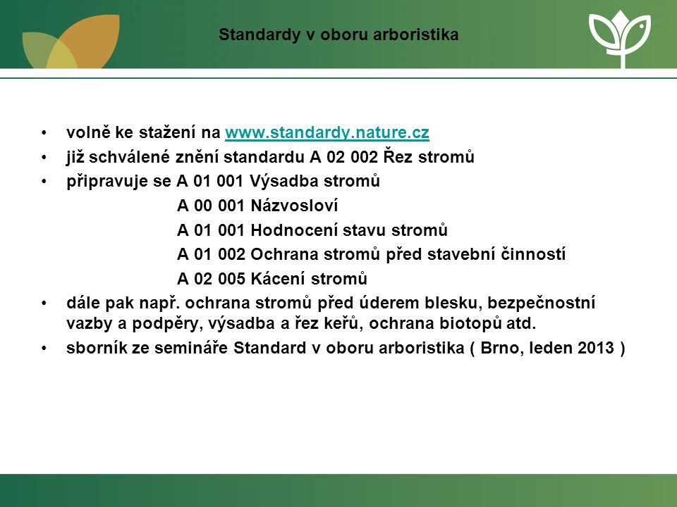 Standardy v oboru arboristika