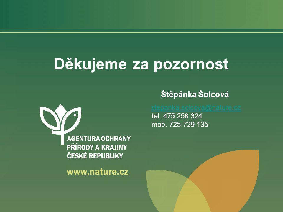 Děkujeme za pozornost Štěpánka Šolcová stepanka.solcova@nature.cz