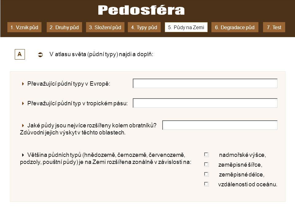 Pedosféra  A V atlasu světa (půdní typy) najdi a doplň: