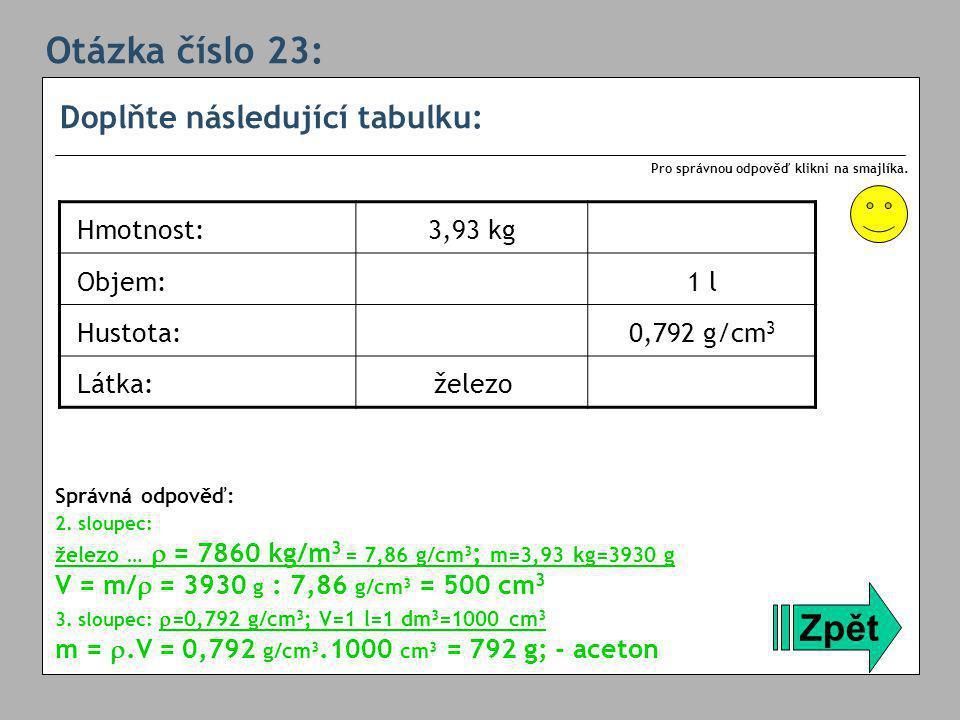 Otázka číslo 23: Zpět Doplňte následující tabulku: Hmotnost: 3,93 kg