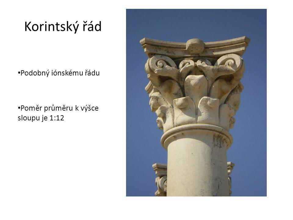 Korintský řád Podobný iónskému řádu