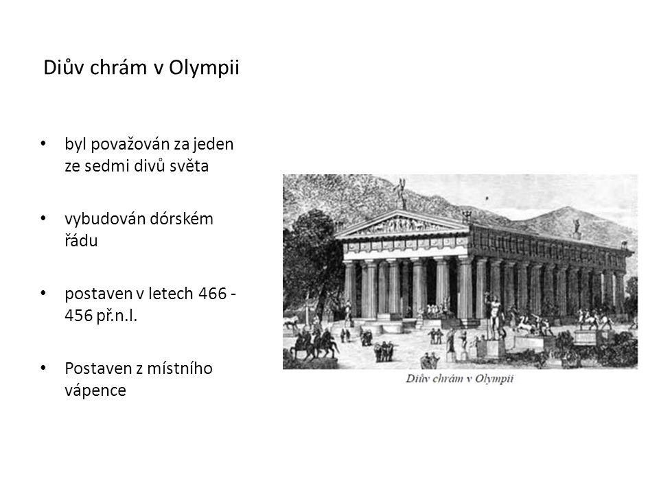 Diův chrám v Olympii byl považován za jeden ze sedmi divů světa