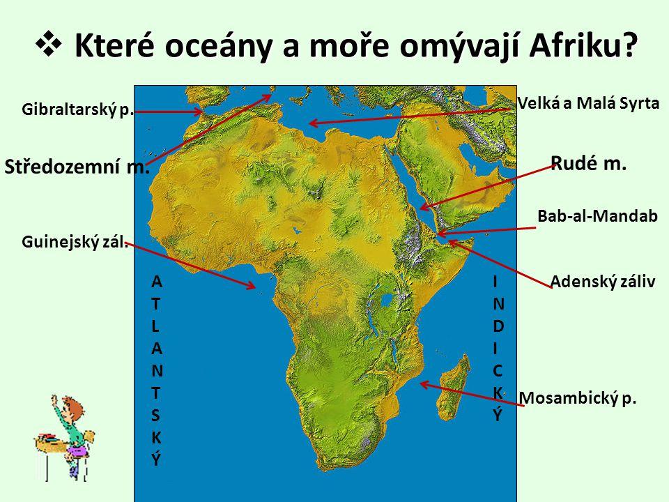 Které oceány a moře omývají Afriku