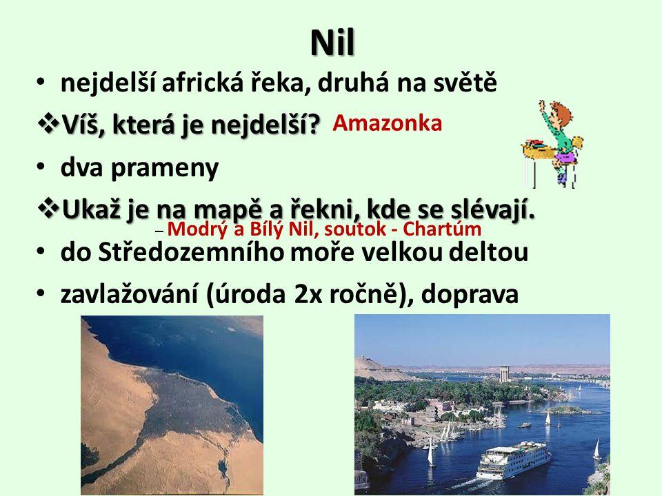 Nil nejdelší africká řeka, druhá na světě Víš, která je nejdelší