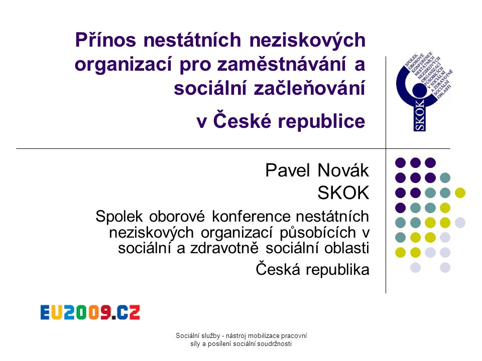 Přínos nestátních neziskových organizací pro zaměstnávání a sociální začleňování v České republice