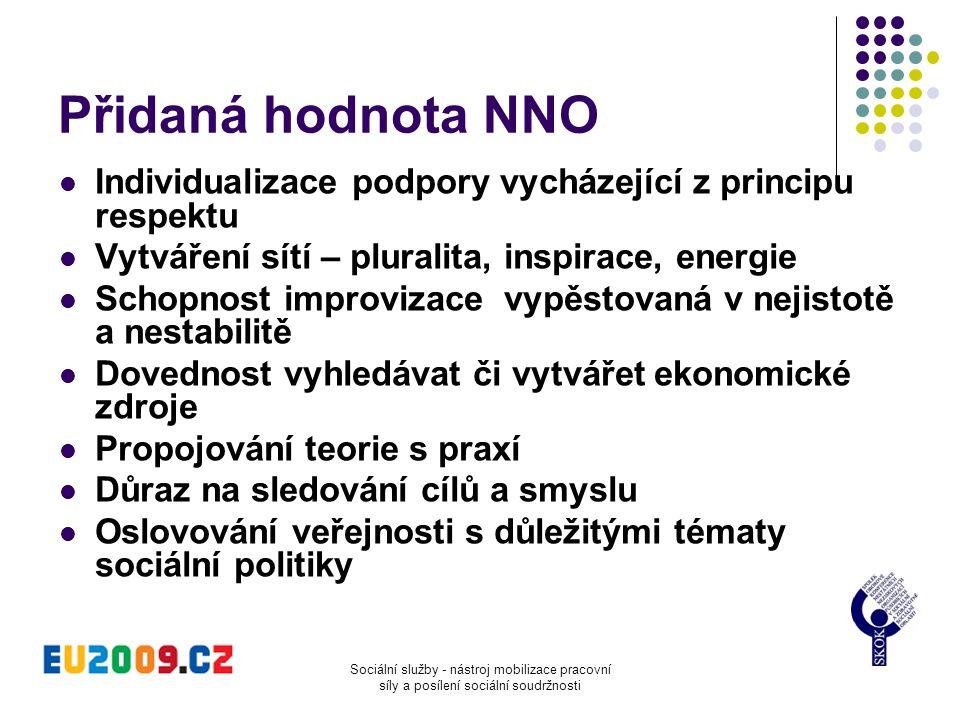 Přidaná hodnota NNO Individualizace podpory vycházející z principu respektu. Vytváření sítí – pluralita, inspirace, energie.