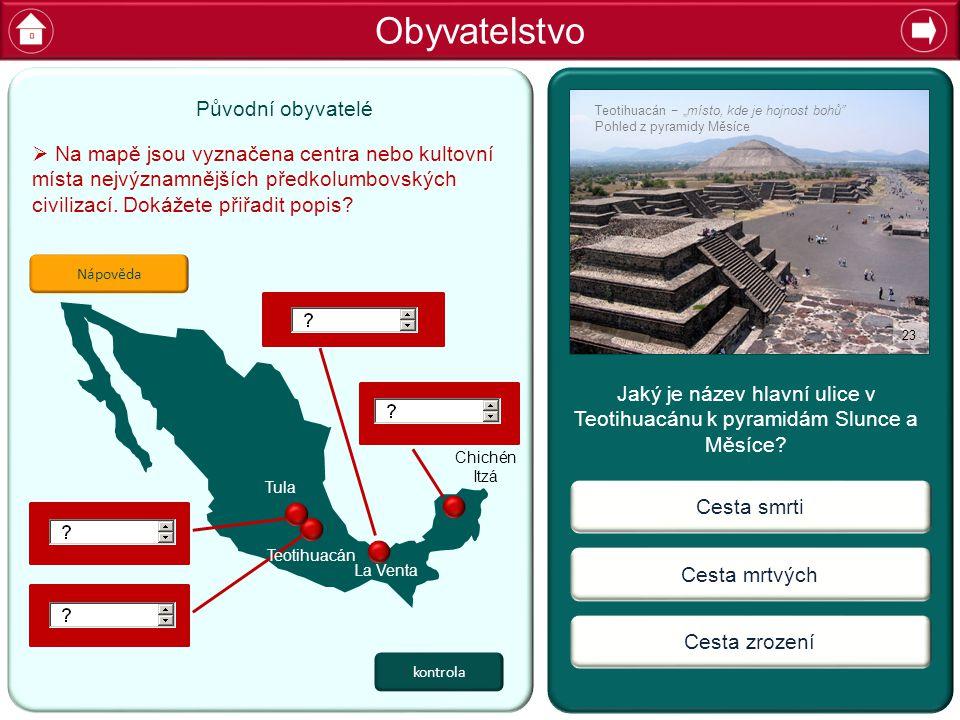 Jaký je název hlavní ulice v Teotihuacánu k pyramidám Slunce a Měsíce