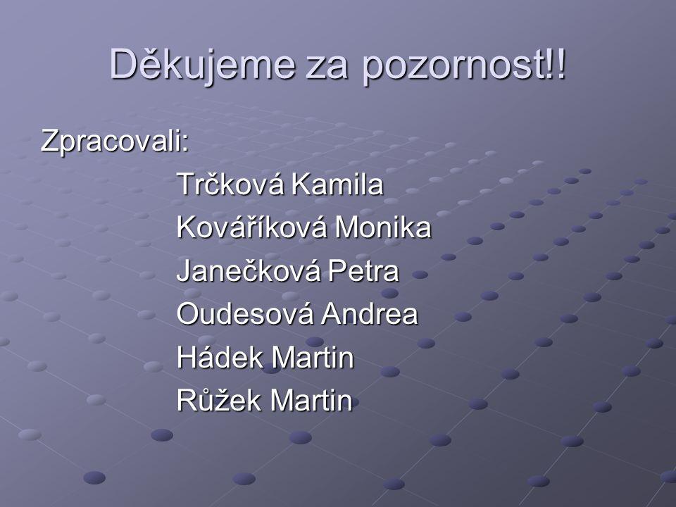 Děkujeme za pozornost!! Zpracovali: Trčková Kamila Kováříková Monika