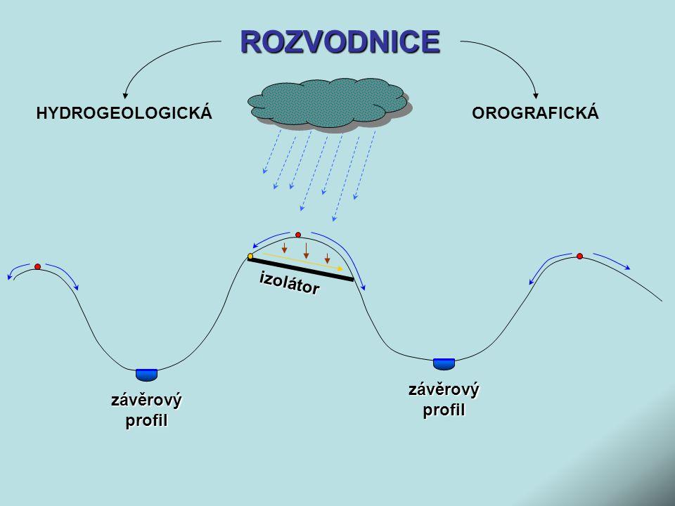 ROZVODNICE HYDROGEOLOGICKÁ OROGRAFICKÁ izolátor závěrový profil