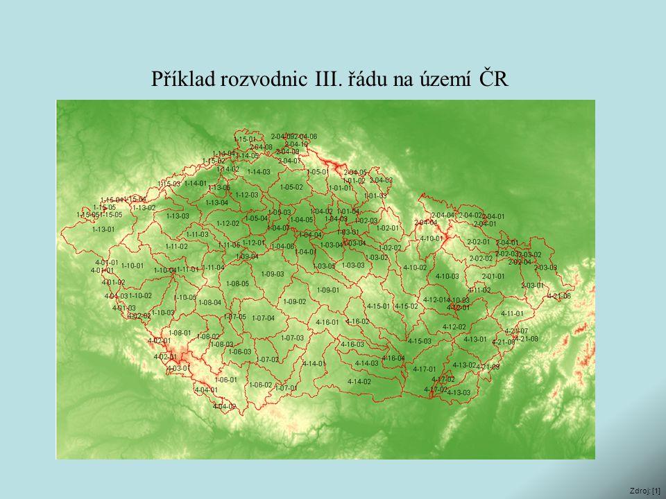 Příklad rozvodnic III. řádu na území ČR