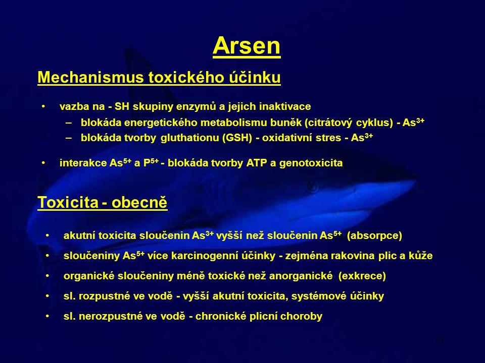 Arsen Mechanismus toxického účinku Toxicita - obecně