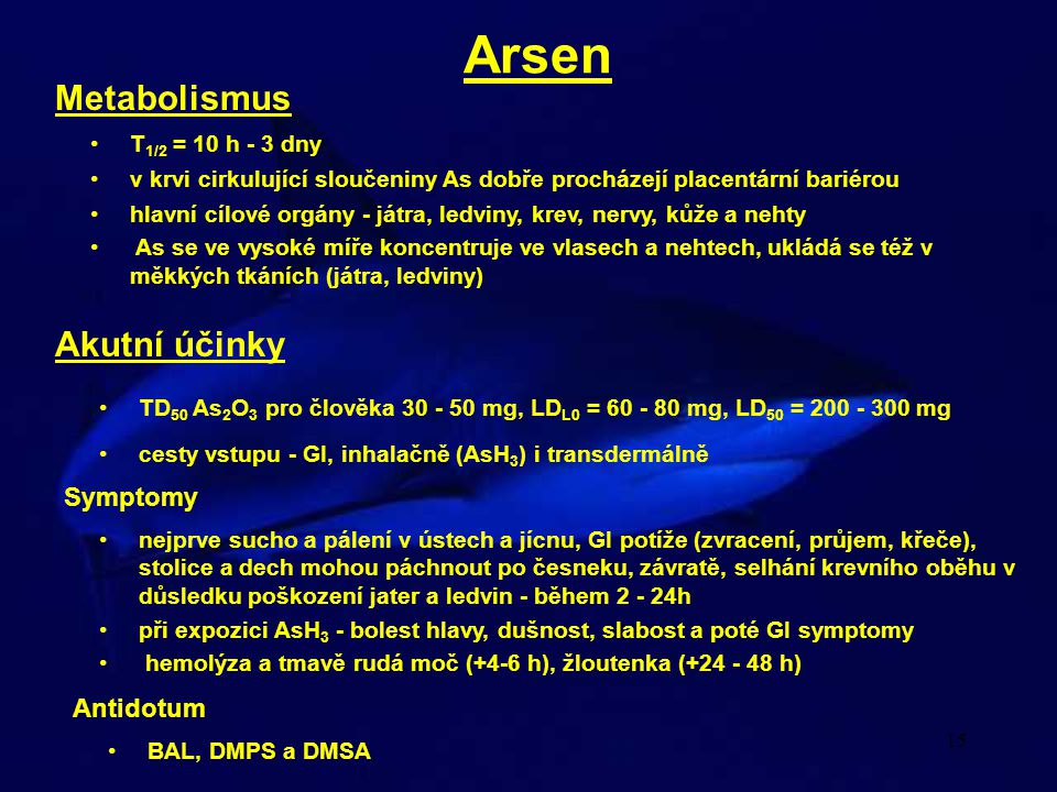 Arsen Metabolismus Akutní účinky Symptomy Antidotum