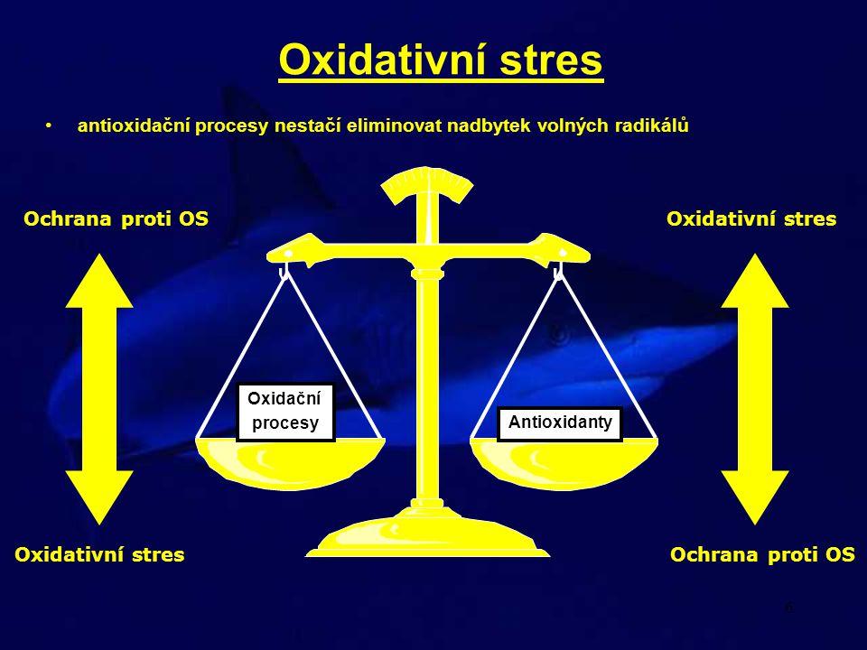 Oxidativní stres antioxidační procesy nestačí eliminovat nadbytek volných radikálů. Oxidační. procesy.
