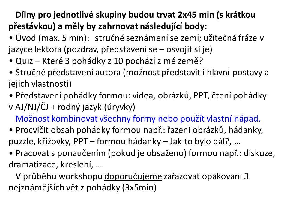 Dílny pro jednotlivé skupiny budou trvat 2x45 min (s krátkou přestávkou) a měly by zahrnovat následující body: