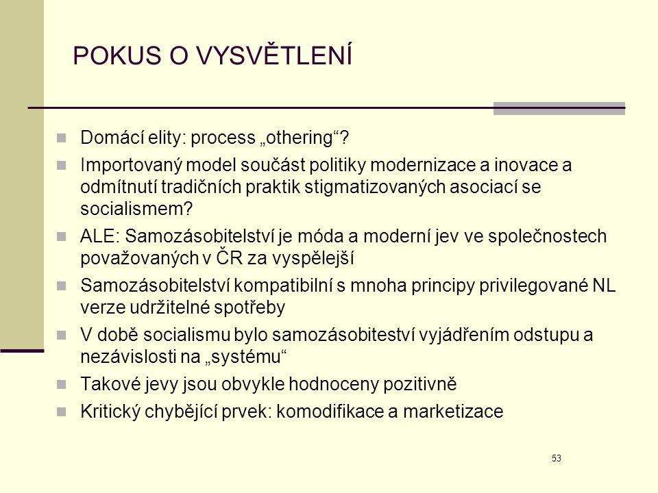 """POKUS O VYSVĚTLENÍ Domácí elity: process """"othering"""