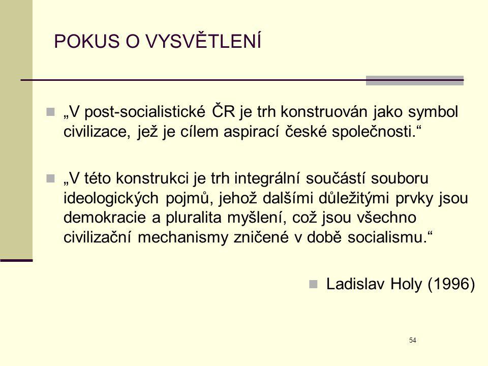 """POKUS O VYSVĚTLENÍ """"V post-socialistické ČR je trh konstruován jako symbol civilizace, jež je cílem aspirací české společnosti."""