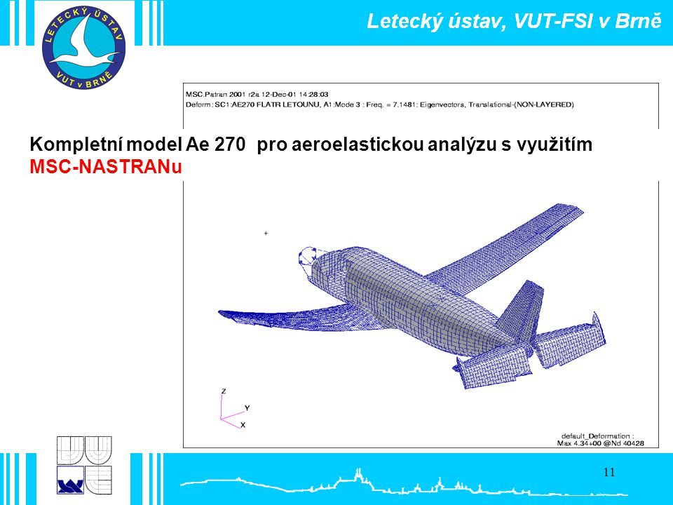 Kompletní model Ae 270 pro aeroelastickou analýzu s využitím