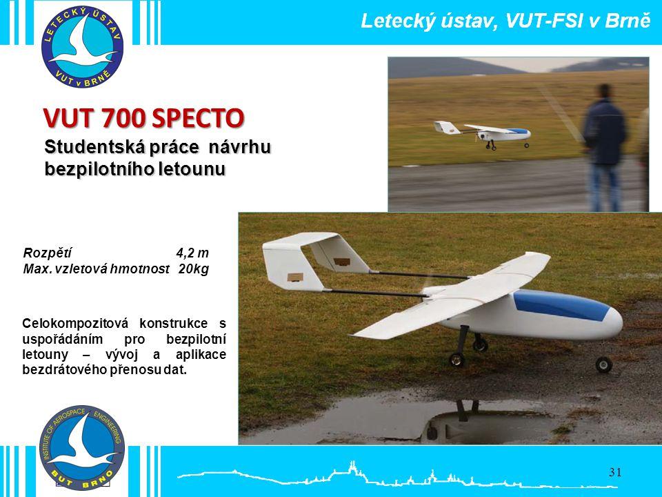 VUT 700 SPECTO Studentská práce návrhu bezpilotního letounu