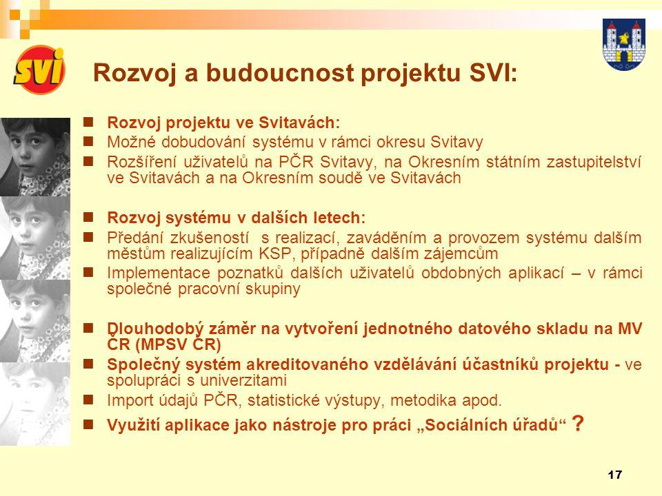 Rozvoj a budoucnost projektu SVI: