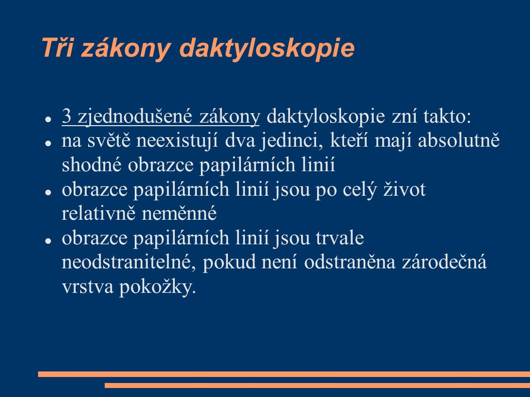 Tři zákony daktyloskopie