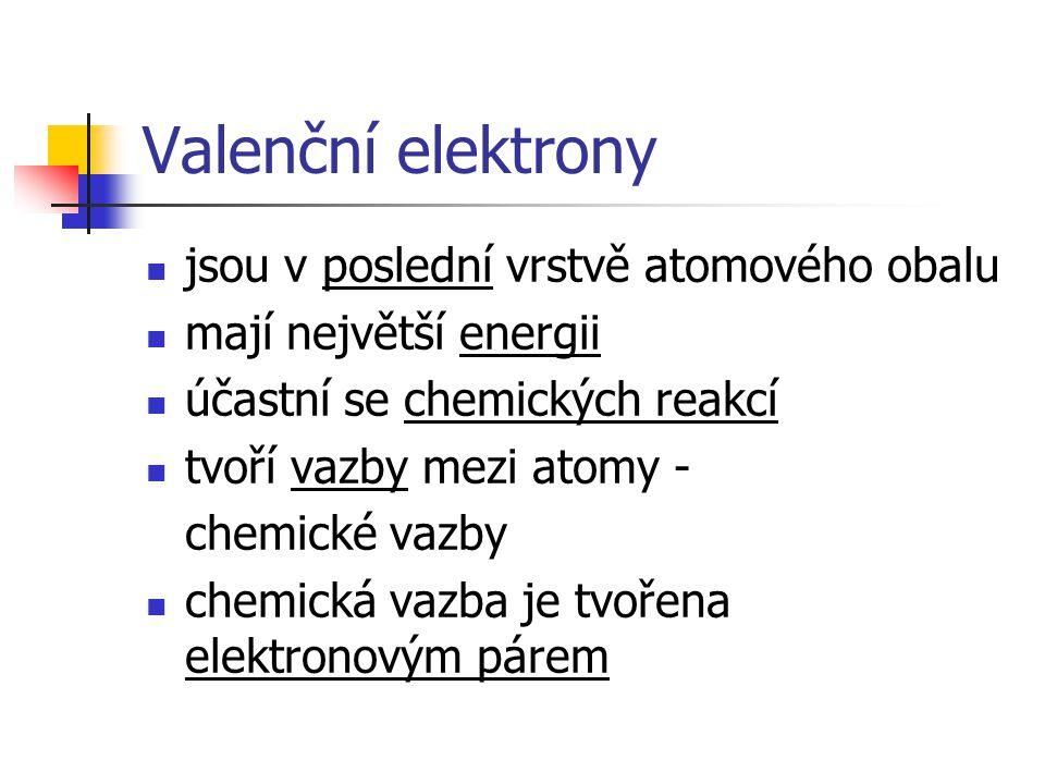 Valenční elektrony jsou v poslední vrstvě atomového obalu