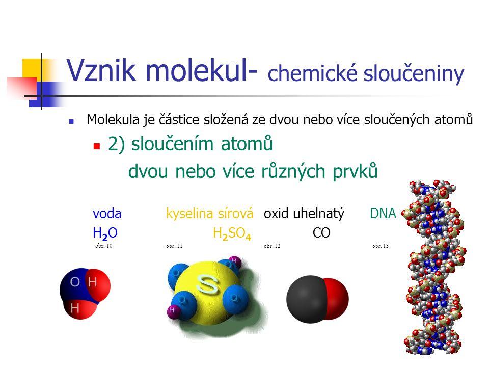 Vznik molekul- chemické sloučeniny