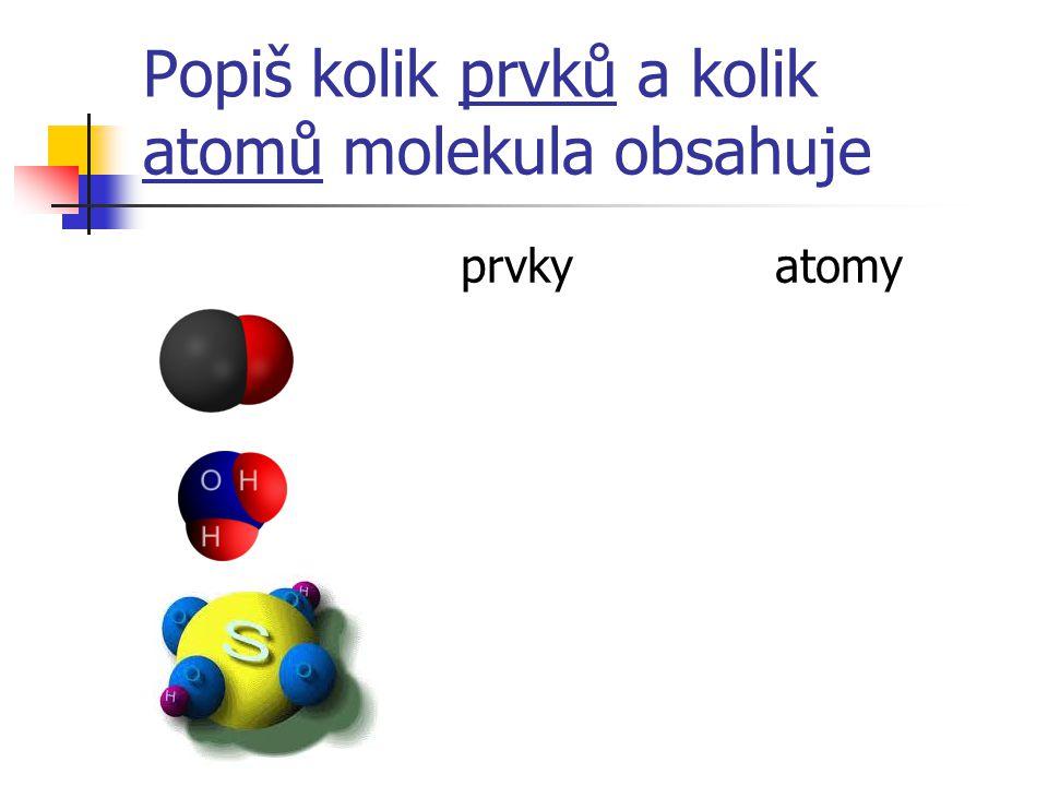 Popiš kolik prvků a kolik atomů molekula obsahuje