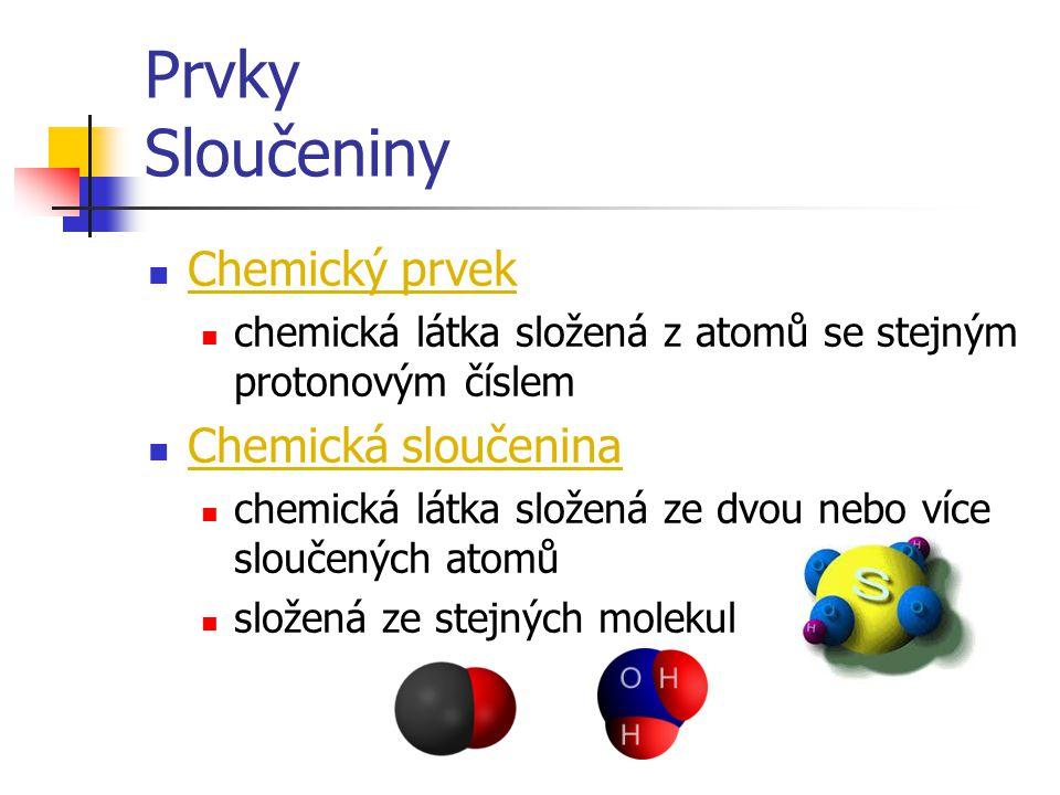 Prvky Sloučeniny Chemický prvek Chemická sloučenina