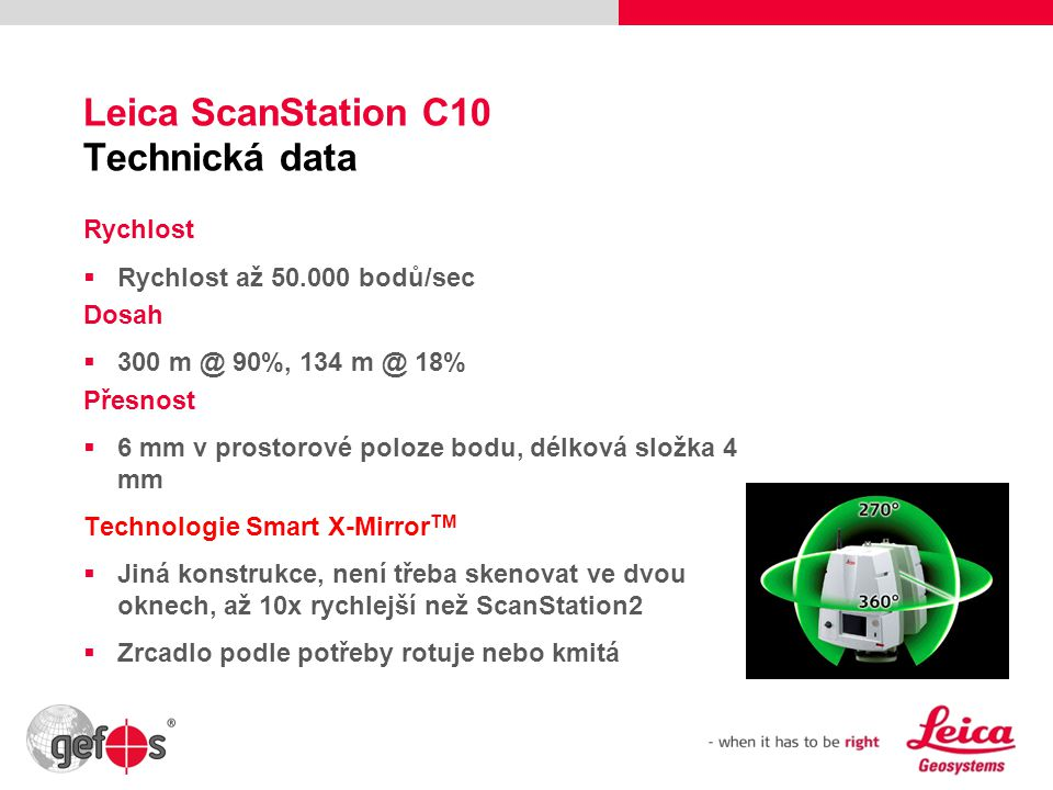 Leica ScanStation C10 Technická data