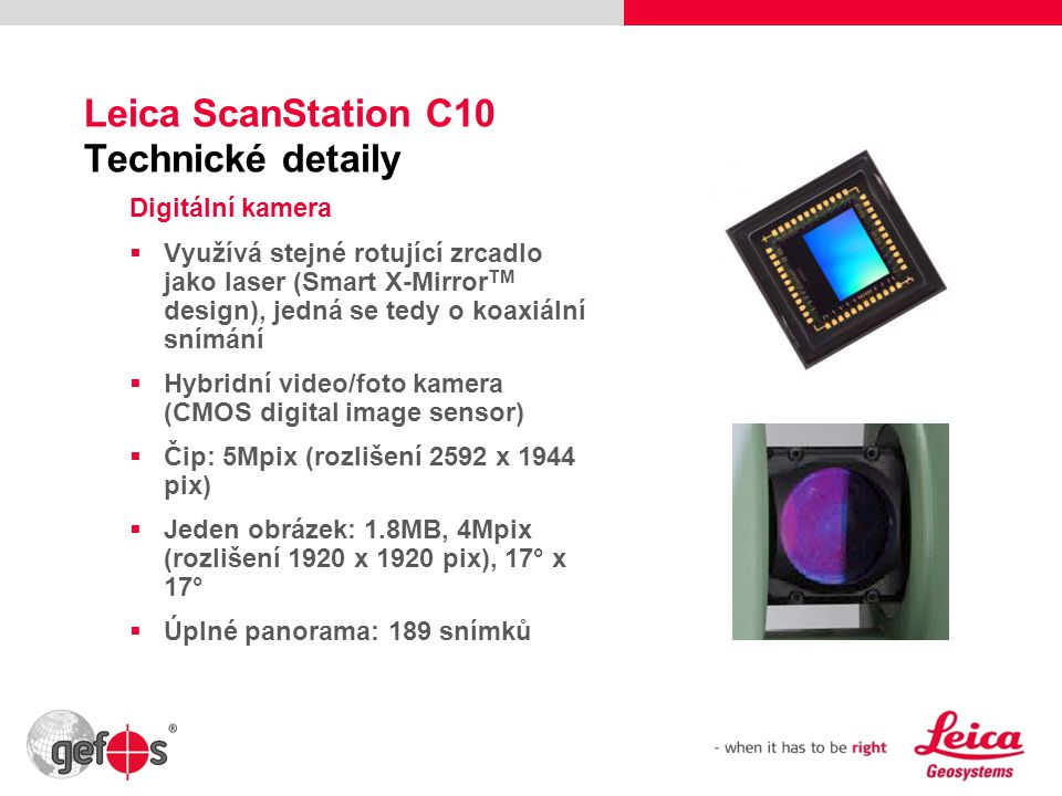 Leica ScanStation C10 Technické detaily