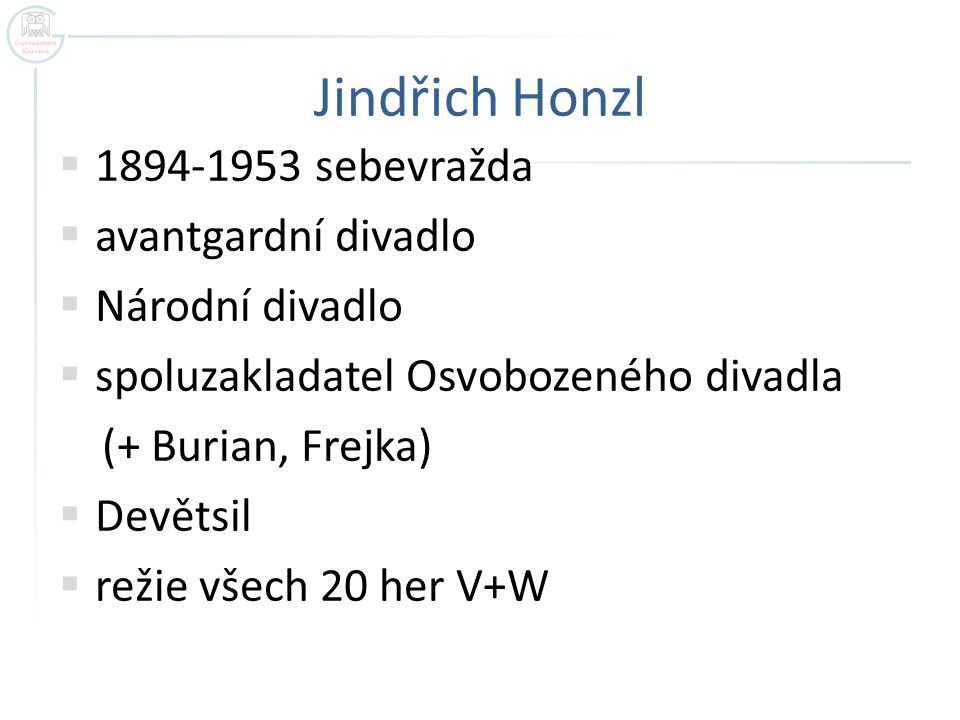 Jindřich Honzl 1894-1953 sebevražda avantgardní divadlo