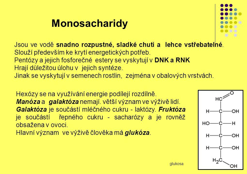 Monosacharidy Jsou ve vodě snadno rozpustné, sladké chuti a lehce vstřebatelné. Slouží především ke krytí energetických potřeb.