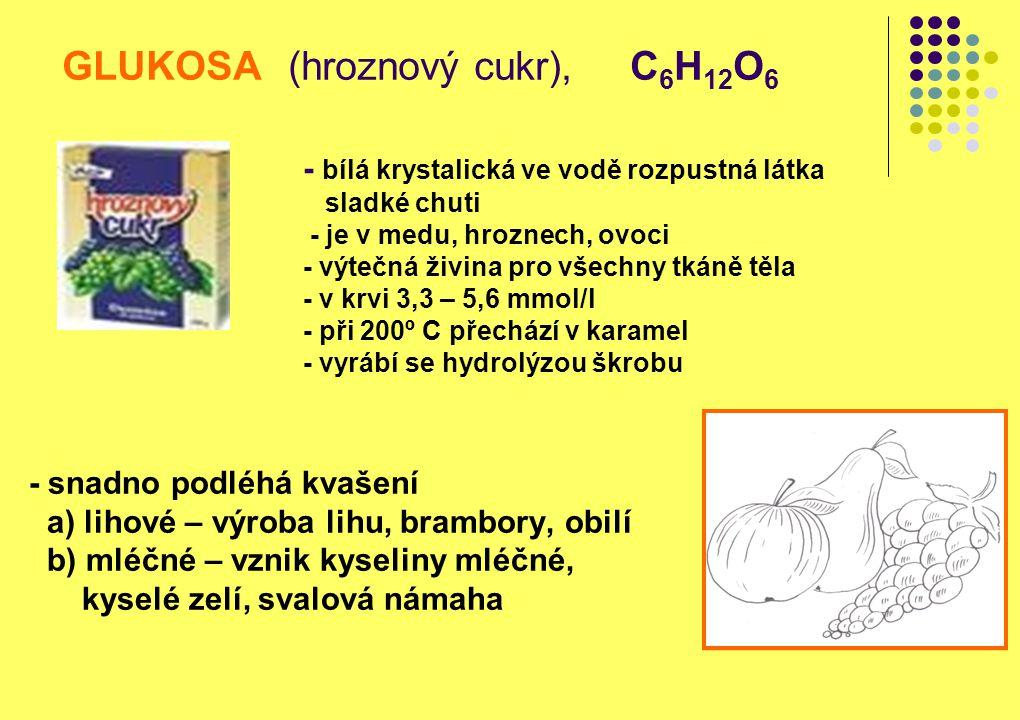 GLUKOSA (hroznový cukr), C6H12O6