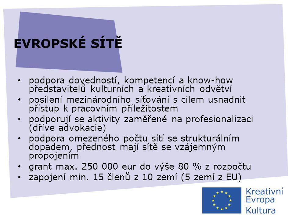 EVROPSKÉ SÍTĚ podpora dovedností, kompetencí a know-how představitelů kulturních a kreativních odvětví.
