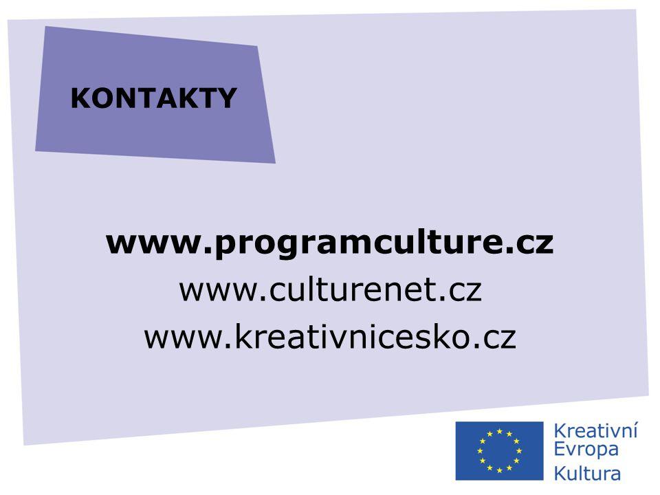 www.programculture.cz www.culturenet.cz www.kreativnicesko.cz