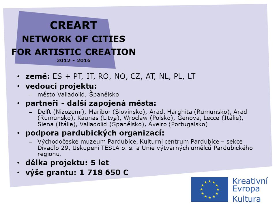 CREART network of cities for artistic creation 2012 - 2016