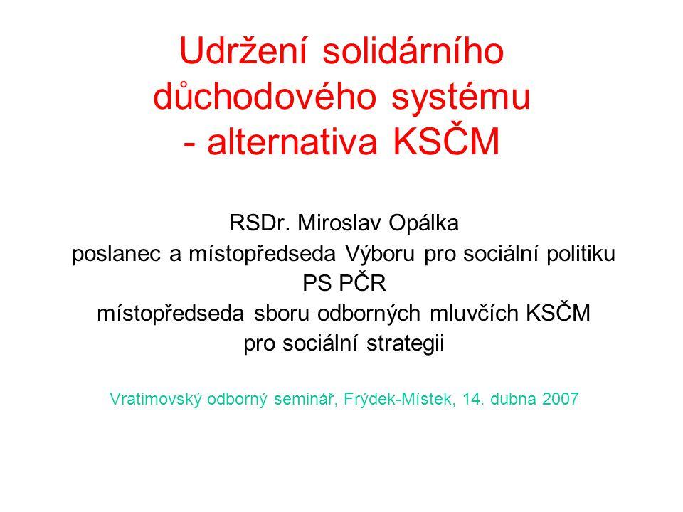Udržení solidárního důchodového systému - alternativa KSČM