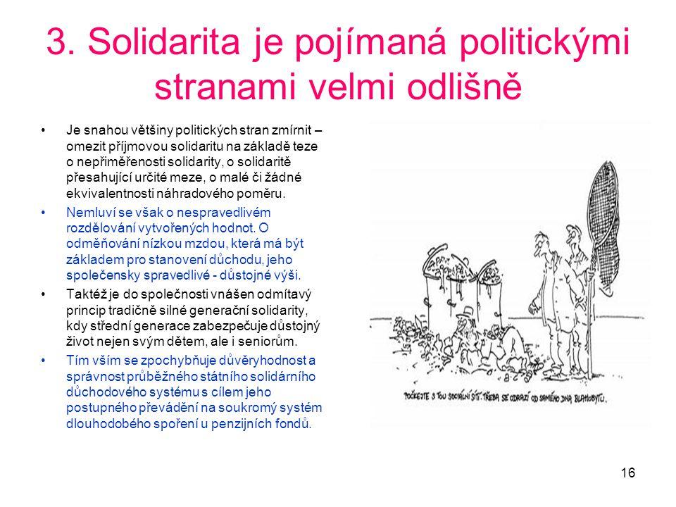 3. Solidarita je pojímaná politickými stranami velmi odlišně