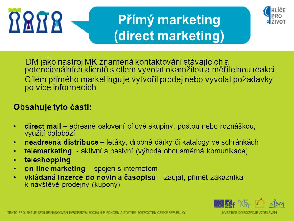 Přímý marketing (direct marketing)