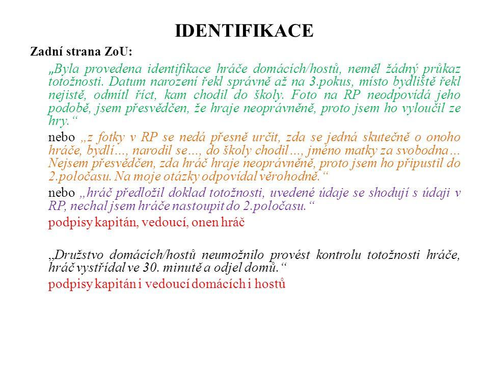 IDENTIFIKACE Zadní strana ZoU: