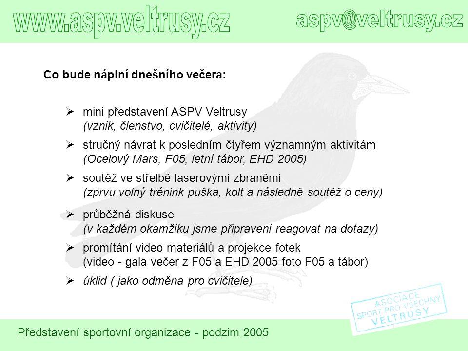 www.aspv.veltrusy.cz aspv@veltrusy.cz Co bude náplní dnešního večera: