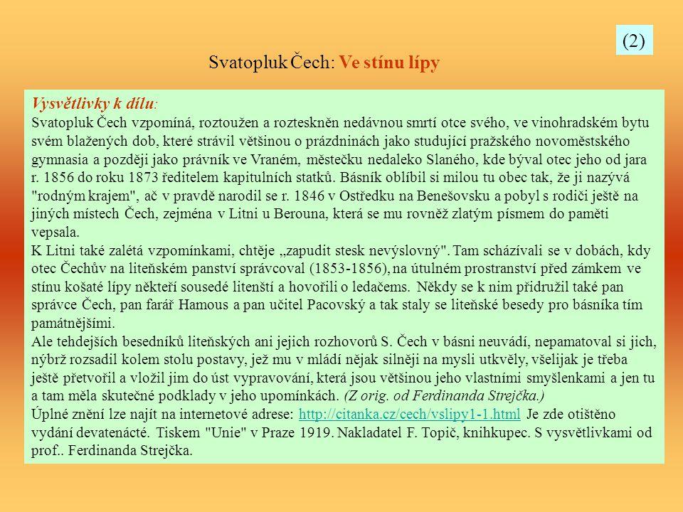 Svatopluk Čech: Ve stínu lípy