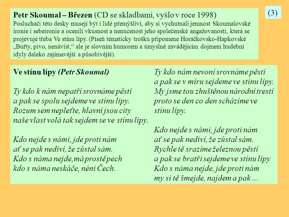 Petr Skoumal – Březen (CD se skladbami, vyšlo v roce 1998)