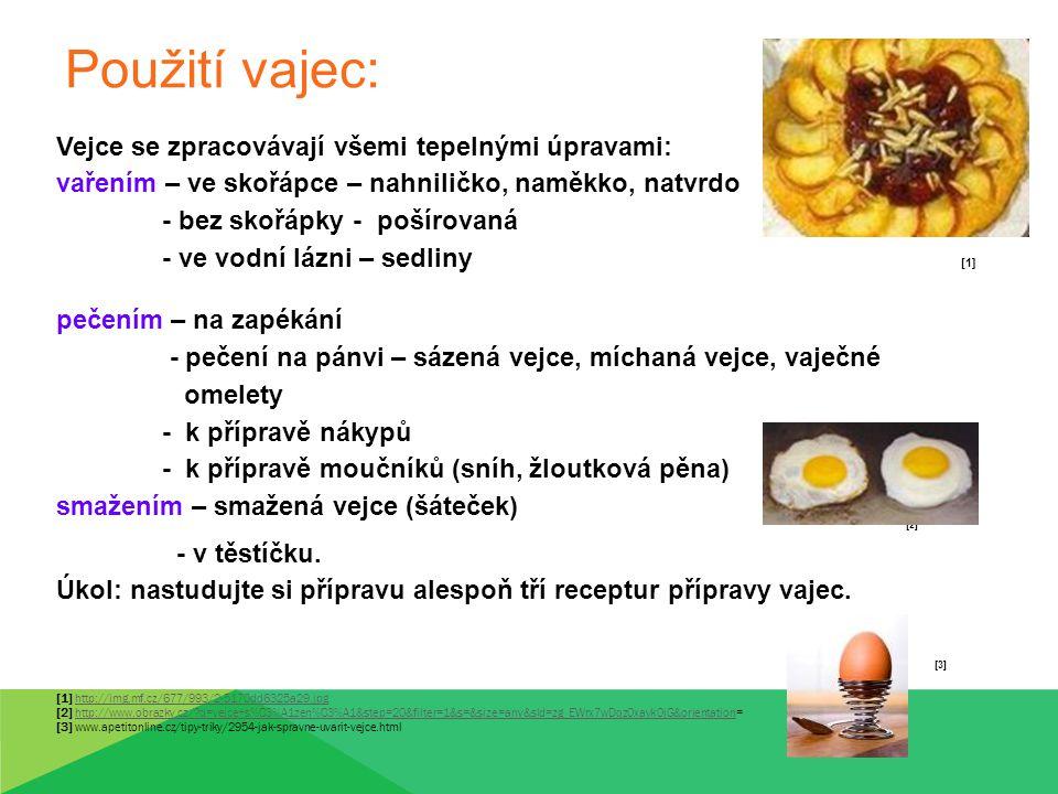 Použití vajec: Vejce se zpracovávají všemi tepelnými úpravami: