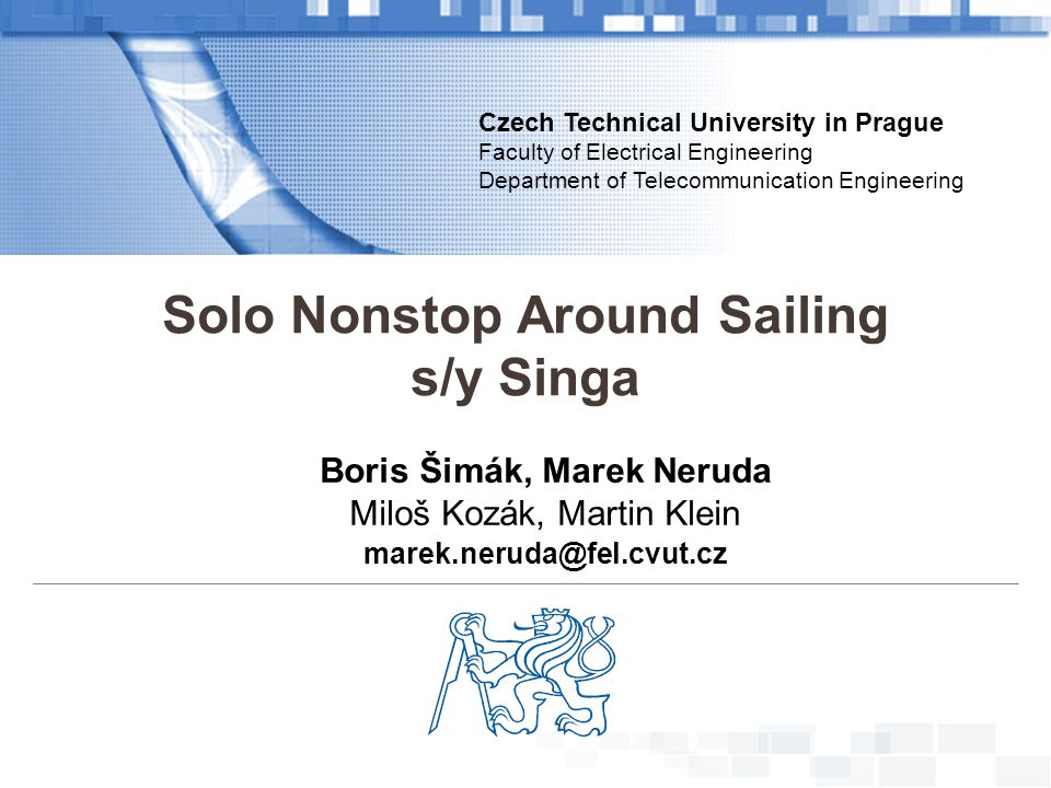 Solo Nonstop Around Sailing Boris Šimák, Marek Neruda