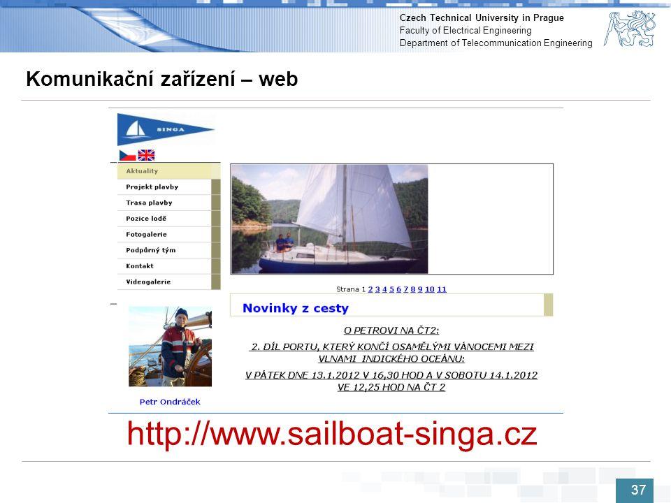 37 37 Komunikační zařízení – web http://www.sailboat-singa.cz 37