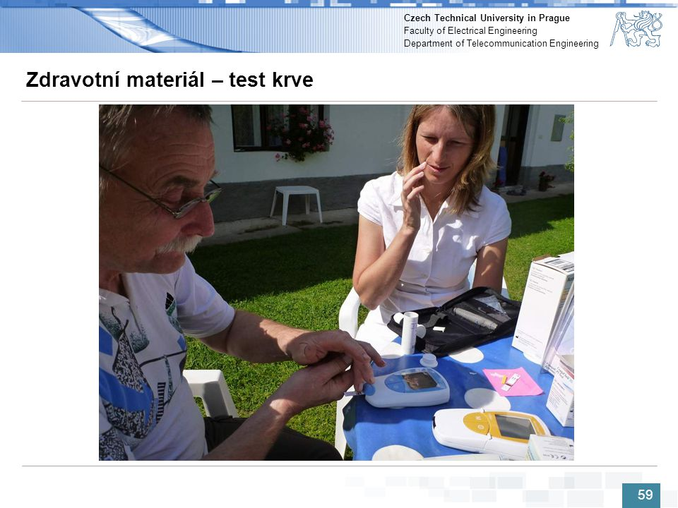 Zdravotní materiál – test krve